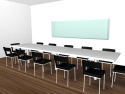 Efter att vi har fått ett digitalfoto på uttänkt plats/miljö av er, ritar en arkitekt in ett akvarium av önskad form i den fotografiska bilden. Bilden visar hur ett väggakvarium skulle kunna se ut i ett konferensrum.