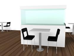 Utifrån fotomontaget kan man enklare spåna vidare och komma med nya idéer. Bild 3 visar hur ett akvarium skulle kunna passa in i t.ex. en matsal.