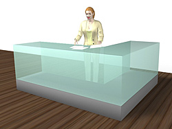 Fotomontaget ger en realistisk bild av hur ett akvarium kan passa in i era lokaler. Här ett akvarium som en kunddisk.